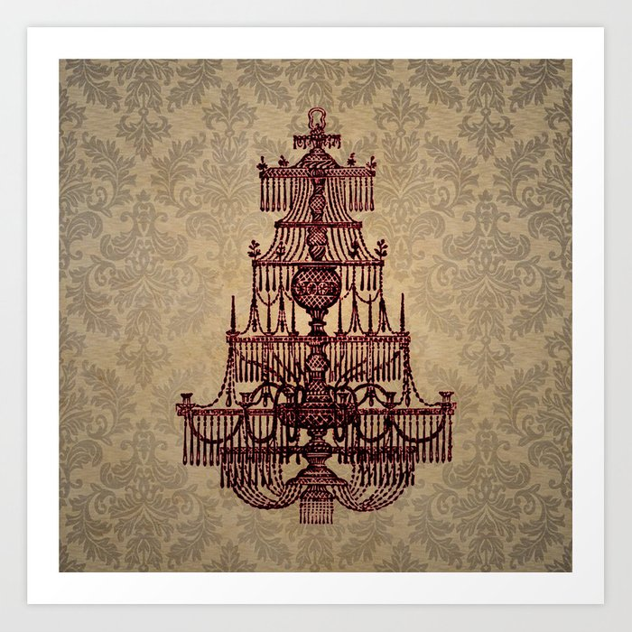 Vintage chandelier art print by bluepress society6 vintage chandelier art print aloadofball Image collections