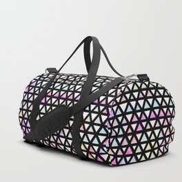 Neon and Black Rainbow Triangle Pattern Duffle Bag