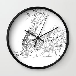 Minimal City Maps - Map Of New York, United States Wall Clock