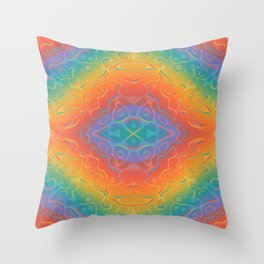 Colorful Liquid Holographic Pattern Abstract Rainbow Waves Throw Pillow