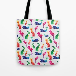 Rainbow Tangram Geomtric Animals Tote Bag