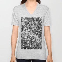 Night Garden Black and White Unisex V-Neck