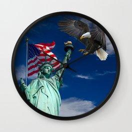 Bald Eagle a Lady Liberty Wall Clock