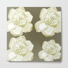 Brown,White Roses Metal Print