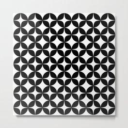 Mid Century Black Star Burst Circles  Metal Print