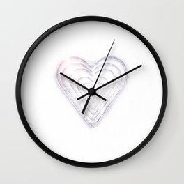 White Snow Heart On A White Background #decor #society6 Wall Clock