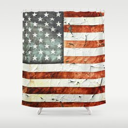 Painted Stars And Stripes Shower Curtain