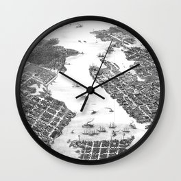 Vintage Map of Norfolk and Portsmouth VA (1873) BW Wall Clock
