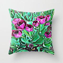 Nurturing Flowers in Pink Throw Pillow