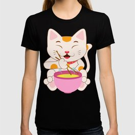 Kawaii japanese anime cat ramen noodles shirt T-Shirt