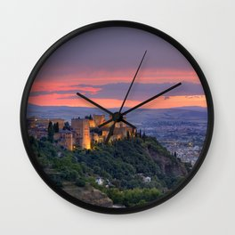 The alhambra and Granada city at sunset Wall Clock