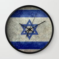 palestine Wall Clocks featuring The National flag of the State of Israel - Distressed worn version by Bruce Stanfield