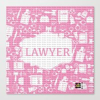 lawyer Canvas Prints featuring Pink Lawyer by Be Raza