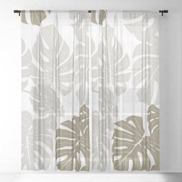 Beautiful Large Beige Leaves on White Background #decor #society6 #buyart Sheer Curtain