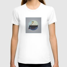 The little big boat on the sea, round design T-shirt