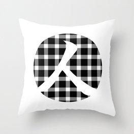Plaid Dark Black Person Throw Pillow