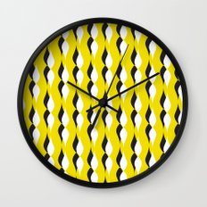 yellow petal lines Wall Clock