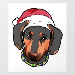 Dachshund Dog Christmas Hat Present Art Print