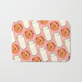 Milk & Cookies Pattern - Pink Bath Mat