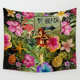 Tropical Vintage Exotic Jungle Beach Party Wall Tapestry