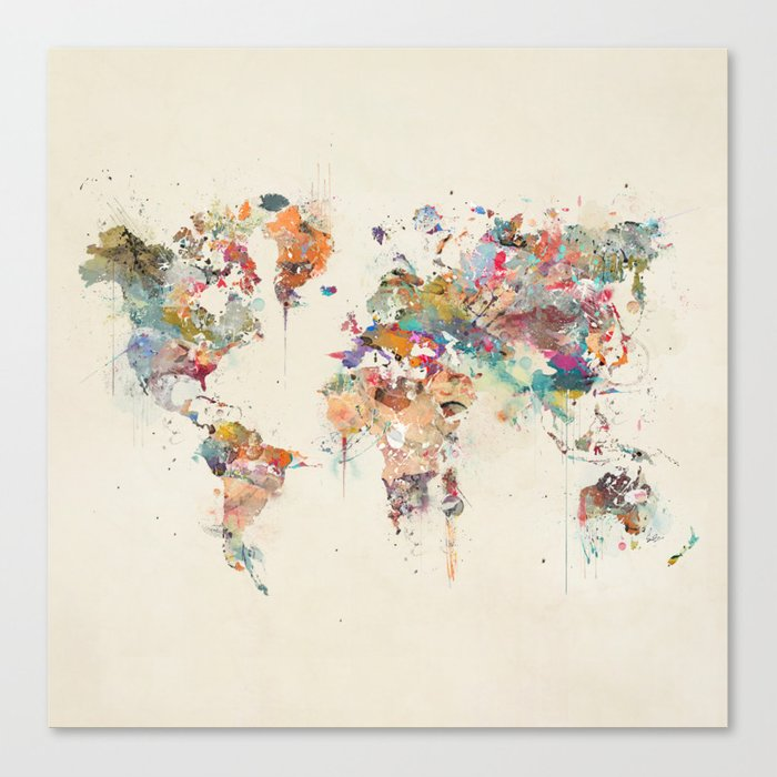 world map watercolour Canvas Print