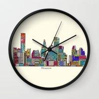 houston Wall Clocks featuring Houston by bri.buckley