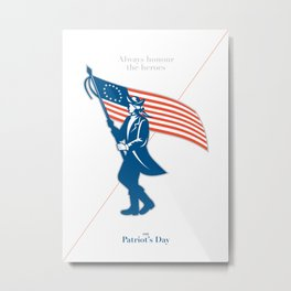 Patriots Day Greeting Card American Patriot Soldier Flag Marching Metal Print