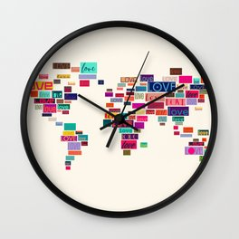 All We Need Is Love World Map Art Wall Clock