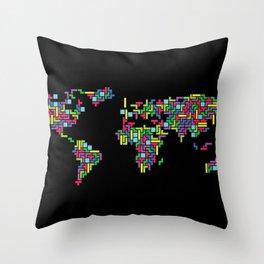 Tetris world (black one) Throw Pillow