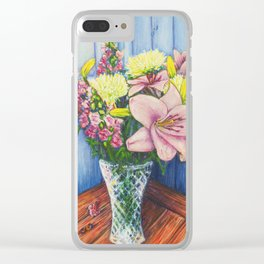 Baby Pink Lilies Clear iPhone Case