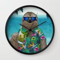 Sloth on summer holidays drinking a mojito Wall Clock