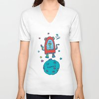 spaceman V-neck T-shirts featuring spaceman by PINT GRAPHICS