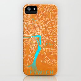 Ipswich, England, Gold, Blue, City, Map iPhone Case