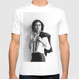 Frida Kahlo Wearing White Shirt Photo Art Poster Print T-shirt