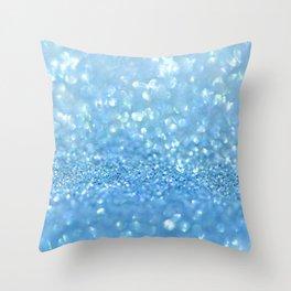 Sparkling Baby Sky Blue Glitter Effect Throw Pillow