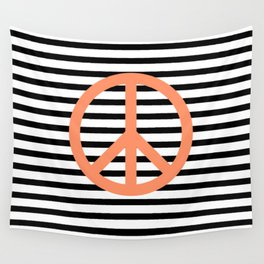 Peace sign in pink with black and white lines background Wall Tapestry