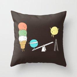 Acrobatic ice cream Throw Pillow