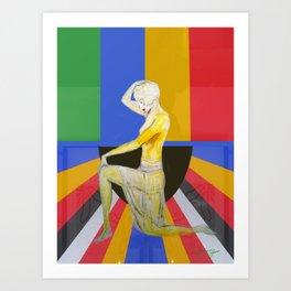 Showgirl, Popart design with vintage art deco style Art Print