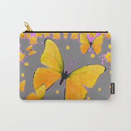 YELLOW BUTTERFLIES FLORAL PINK-GREY ART Carry-All Pouch