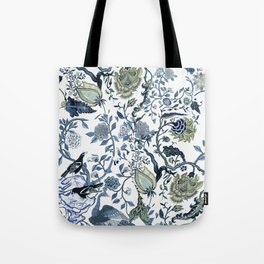 Blue vintage chinoiserie flora Tote Bag