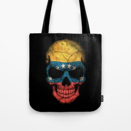 Dark Skull with Flag of Venezuela Tote Bag