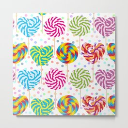 lollipops pattern, colorful spiral candy cane with twisted design Metal Print
