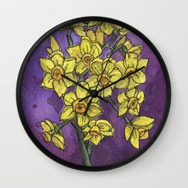 Jonquils - Watercolor and Ink artwork Wall Clock