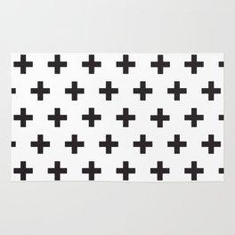 Swiss Cross x Black on White Rug