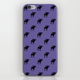 Bull Moose Silhouette - Black on Ultra Violet iPhone Skin