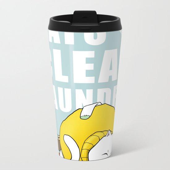 Cats love clean laundry Metal Travel Mug