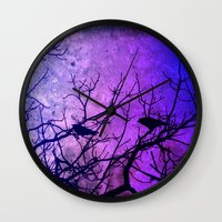 dramatical murder Wall Clocks featuring Attempted Murder by minx267