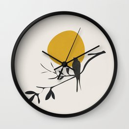 Bird and the Setting Sun Wall Clock
