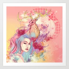 Deer beauty travelling Art Print