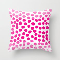 Ombre dots cute hot pink trendy must have gifts for college dorm room decor affordable painting Throw Pillow
